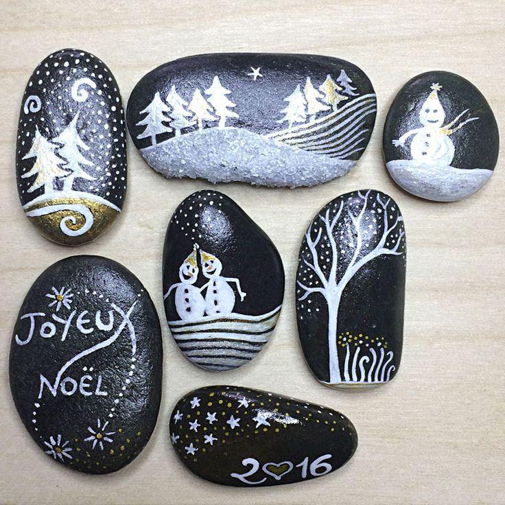 Lot de 7 galets peints à poser - Salat & Garonne - noël et fêtes by Coeur de pierre - Lyzzz GAP 126 : Accessoires de maison par lyzzz-coeurdepierre