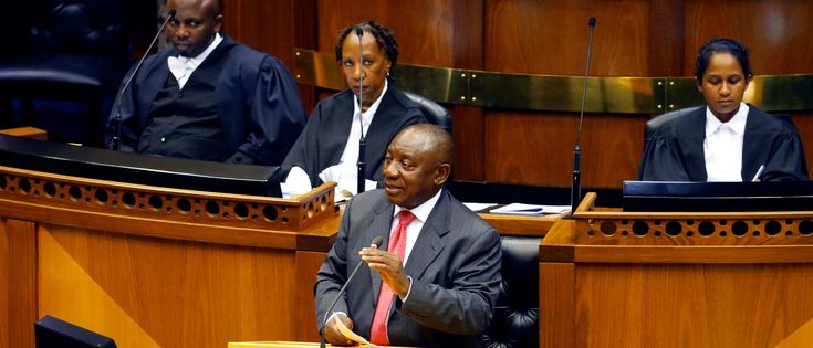 South African lawmakers elected wealthy former businessman Cyril Ramaphosa on February 15, 2018 as the country's new president after scandal-tainted Jacob Zuma resigned under pressure from his own ANC ruling party. Ramaphosa was elected without a vote after being the only candidate nominated in the parliament in Cape Town, chief justice Mogoeng Mogoeng told assembled lawmakers. MIKE HUTCHINGS/AFP/Getty Images