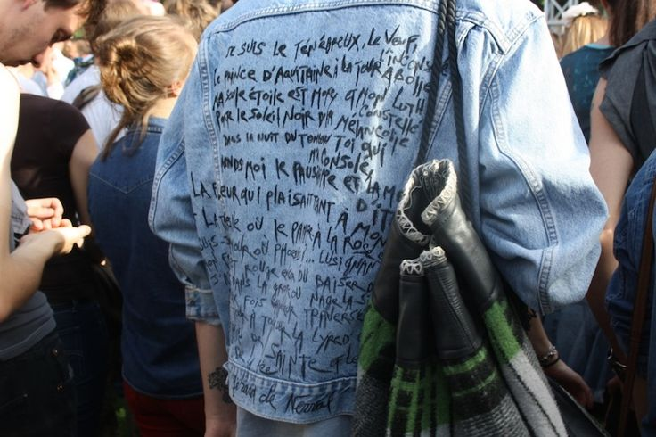 #DIY #denim jacket with quote in paint    i love the idea of this. make people stop and wanna read your back.   makes it way better when it's in your hand writing as well!