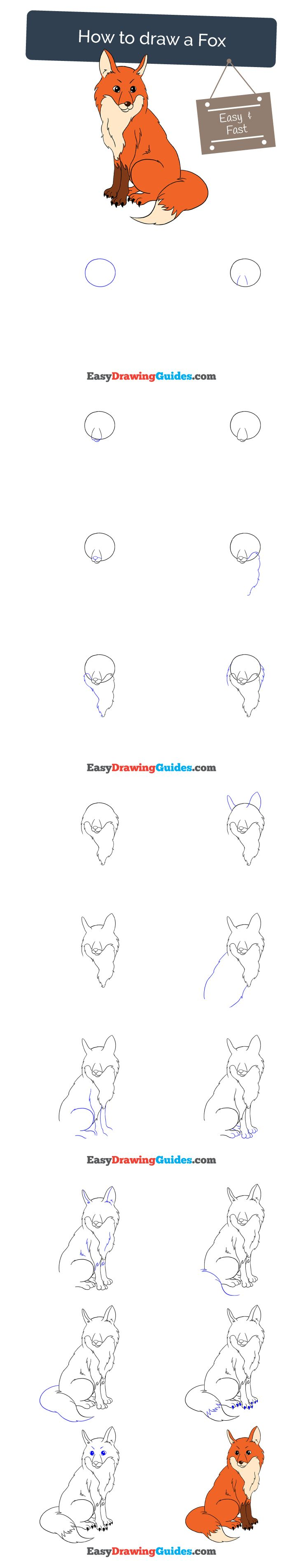 how to draw a fox step by step easy