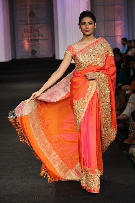 Orange silk saree by Pallavi Jaikishan Couture Collection at India Bridal Fashion Week 2012