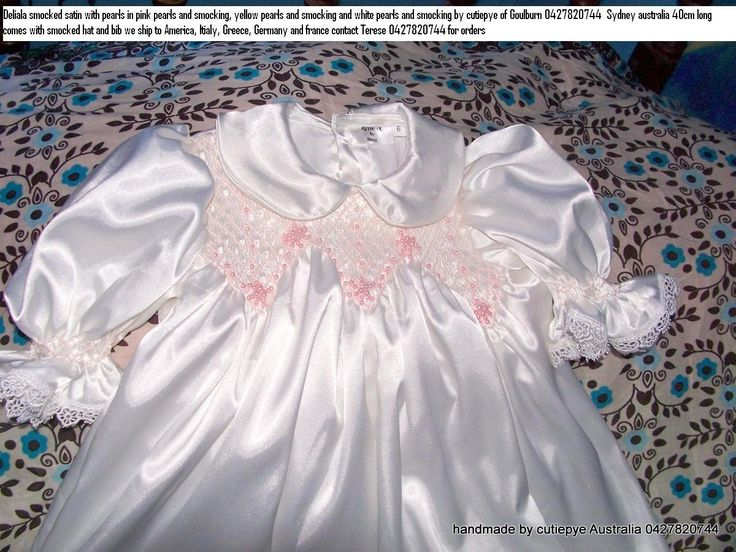 pearls and satin smocked gown 0427820744 www.flickr.com/photos/christening_wear/