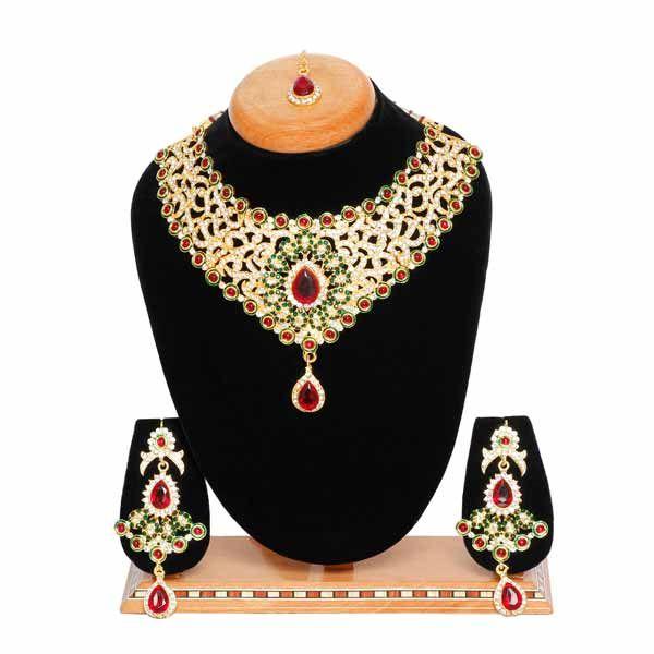 Aaishwarya Glamorous Bridal/Party Necklace Maangtika Set @ Rs. 854/- #necklaceset #bridalnecklaceset #fashionjewelry #necklaceandmaangtikaset #partynecklaceset #ethnicjewelry