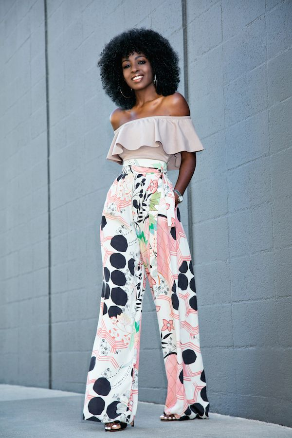 Frill Off Shoulder Blouse + High Waist Printed Pants