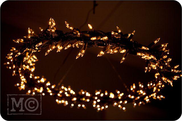 homemade chandelier - hula hoop + fairy lights - gorgeous