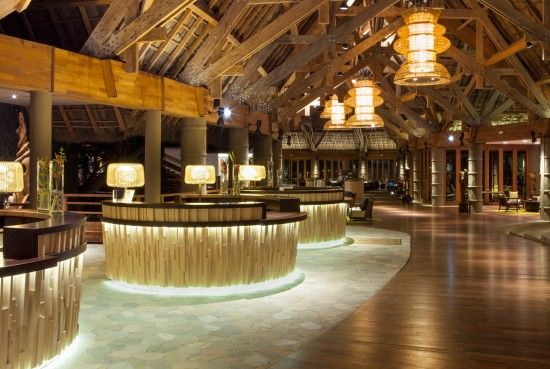The reception of the Sheraton Guoaro Deva Resort, New Caledonia by night - Spectacular timber architecture. Another project from CHADA.