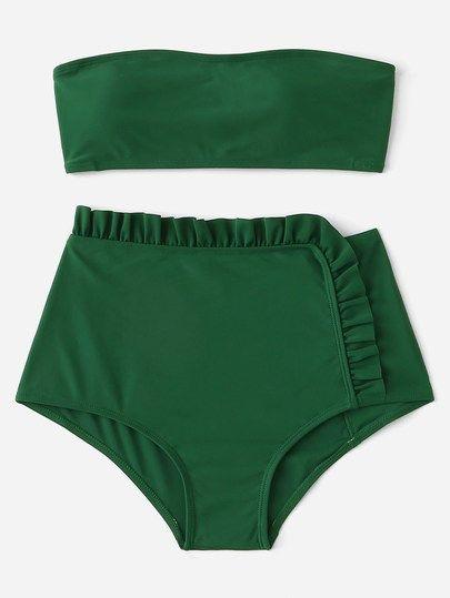 Set de bikini de cintura alta ribete fruncido con bandeau-Spanish Romwe