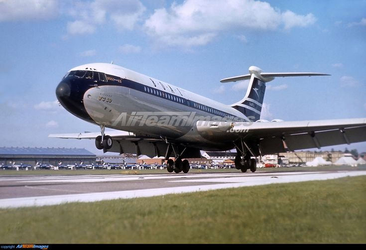 Prototype Vickers VC-10 in the colours of BOAC touching down at Farnborough. This aircraft first flew 29 June 1962 but was written off in 1972 after a very hard landing at Gatwick