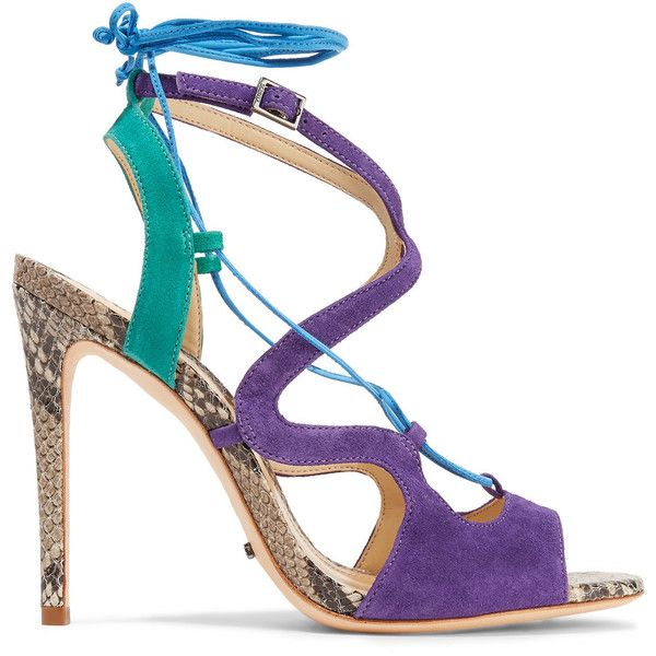 Schutz Grenitta lace-up suede and snake-effect leather sandals ($110) ❤ liked on Polyvore featuring shoes, sandals, purple, strappy sandals, lace up sandals, high heel sandals, leather sandals and multi colored sandals