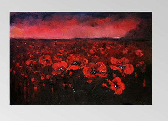 Poppies at night Oil Painting Art Oryginal Idea by BarbaraGallery