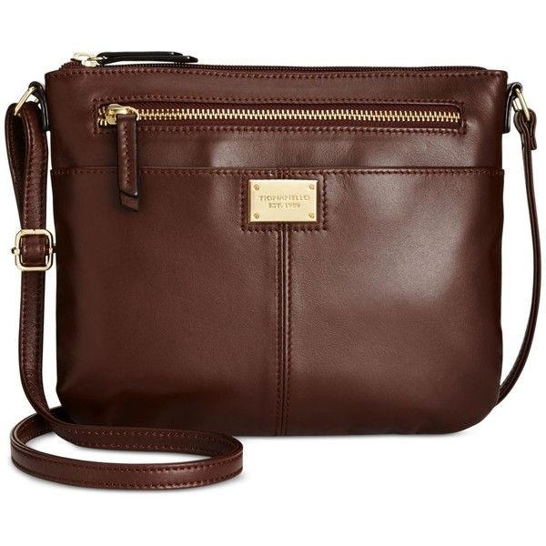 Tignanello Showstopper Small Crossbody ($89) ❤ liked on Polyvore featuring bags, handbags, shoulder bags, raisin, tignanello handbags, crossbody purses, leather crossbody, leather shoulder handbags and crossbody shoulder bags