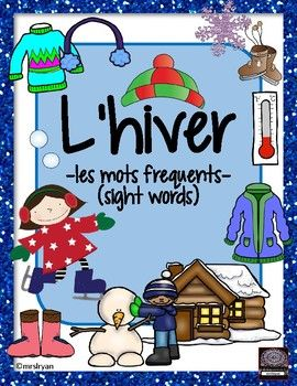 "Use these 25 French flashcards to help your students learn words about ""l'hiver""! Included are 7 pages that can be used either as posters in the classroom or cut up to be individual word wall flashcards. Use all of the 25 vocabulary cards or choose the ones you wish."
