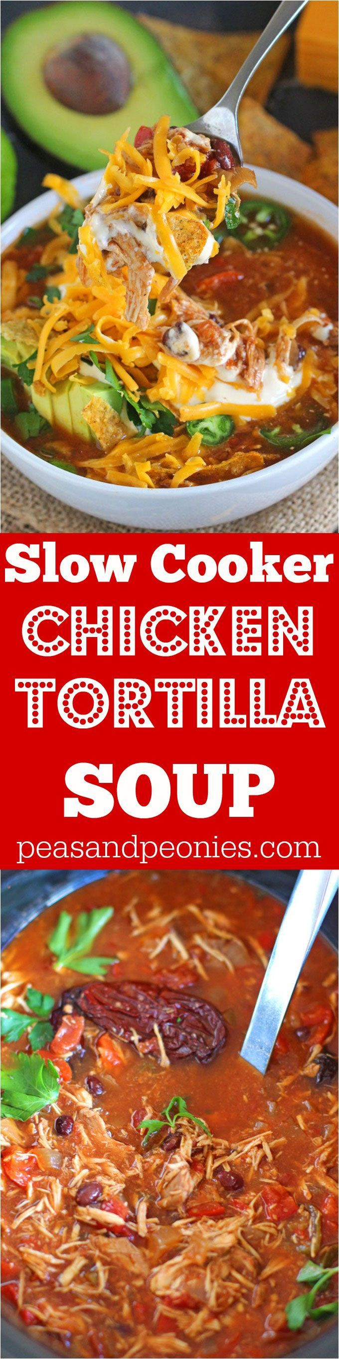 Hearty and spicy, loaded with you favorite fixings, this easy to make Slow Cooker Chicken Tortilla Soup is the epitome of comfort food.