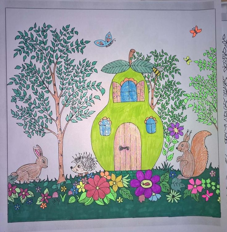 Rabbit, porpentine, squirrel, butterfly, house of pear, flowers #colouringbooks #colouringforadults #adultcolouring #adultcoloring #stressfree #relaxing #blending