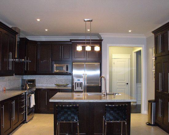 Shaker Style Espresso Kitchen Cabinets ... Light Floors ... Light Granite Or