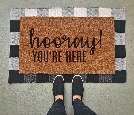 Hooray You Re Here Doormat Funny Doormat Funny Welcome Etsy Fall Doormat Halloween Door Mat Christmas Doormat
