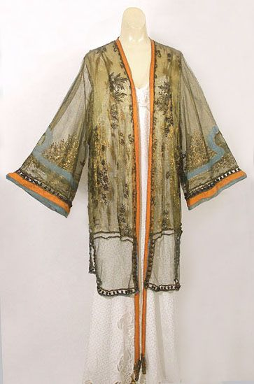Deco chiffon peignoir with metallic thread embroidery, 1920s, from the Vintage Textile archives.