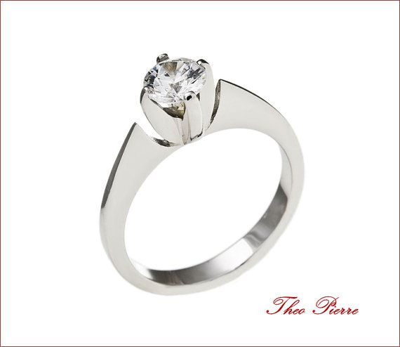 Water Lily Engagement Ring 18 K White Gold