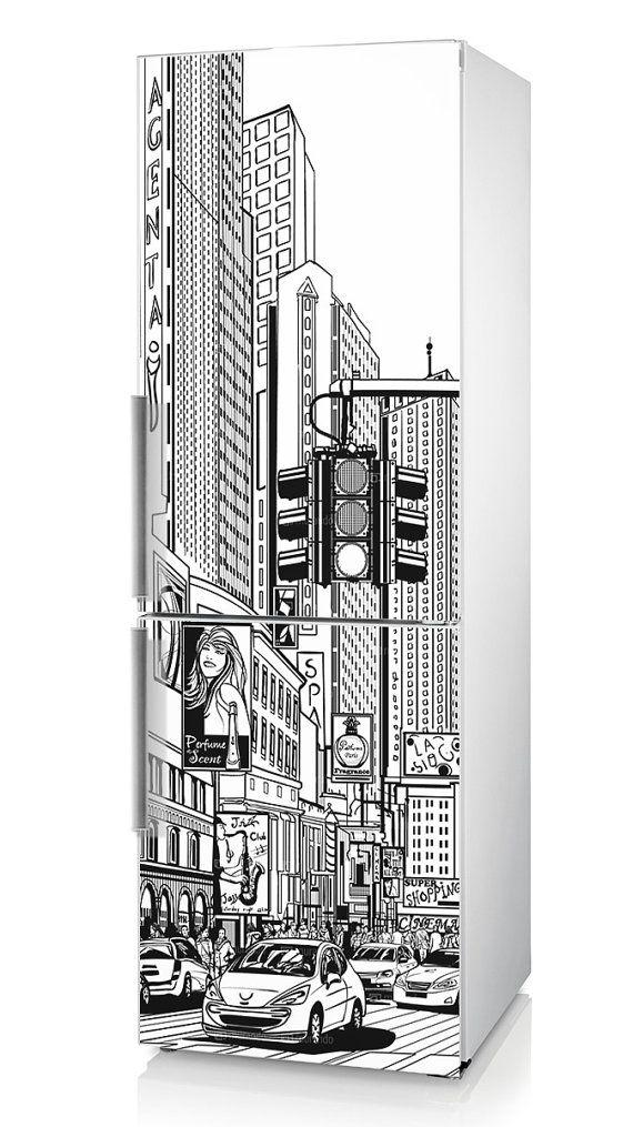 "Fridge decal New York, Vinyl sticker ""NY"", Self-Adhesive Refrigerator Decor, Kitchen Décor, Refrigerator Decal, Fridge Decal with New York"