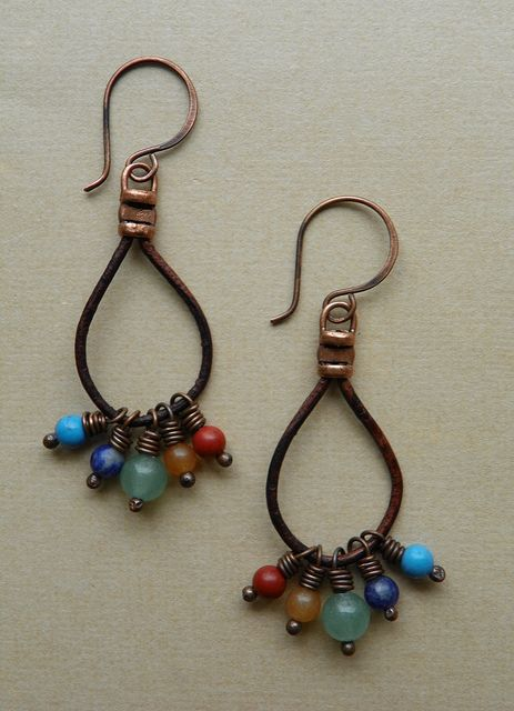 Bead and Leather Earrings by Erin Siegel Jewelry