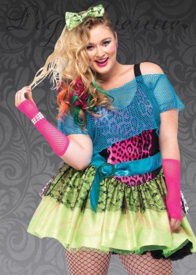 5PC Plus Size 80s Halloween Costume with Dress, Shirt, Belt, Headband