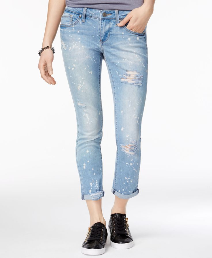 Rampage Juniors' Chloe Ripped Cuffed Skinny Jeans