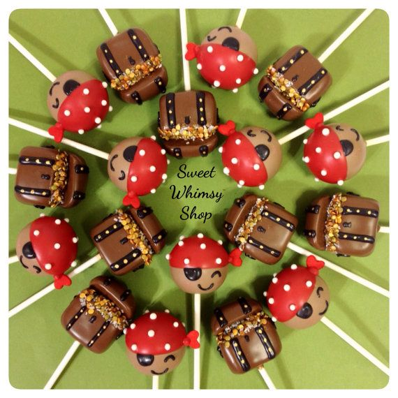 12 Treasure Chest Cake Pops for Pirate Party by SweetWhimsyShop