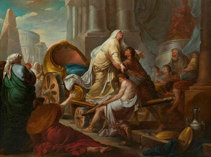 Jean-Simon Berthelemy - Cleobis and Biton pulling the chariot of their mother to the temple of Juno.
