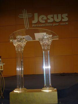 Púlpito de Acrilico, Púlpito em Acrilico Getsêmani 001 C,Púlpito, Acrilico, Púlpito de Acrilico com Medeira