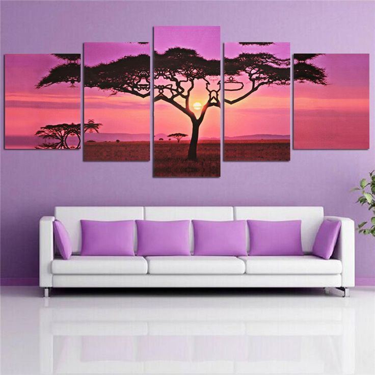 Frameless 5 pieces Large Sunset Tree Landscape Wall Art Painting Pictures Print On Canvas Home Office Living Room Decoration