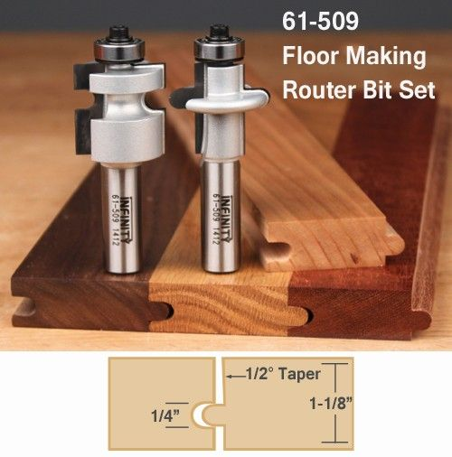 "Choose from three options to fit your needs: 61-504 - V-Tongue and Groove Router Bit Set Unlike most square profile tongue and groove router bits, our matched V-Tongue & Groove set produces an elegant 45° ""V"" groove in stock from 5/8"" to 7/8"" thick. This type of joint is ideal for custom flooring, wainscot paneling, cabinet backs, and even Shaker-style cabinet doors. Both router bits feature bearing guides that will make setting-up and run..."