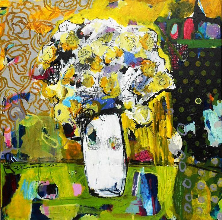 Renáta Kačová - Potichu, akryl na plátne, 60 x 60 cm, bez rámu, značenie vľavo, 2017