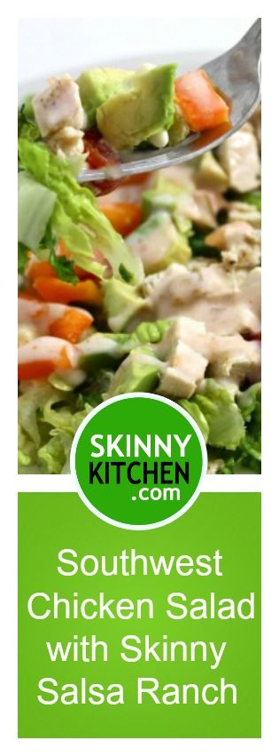 Southwest Chicken Salad with Skinny Salsa Ranch. It's so healthy and satisfying, One large salad, including dressing, has 234 calories, 9g fat & 6 Weight Watchers SmartPoints.  http://www.skinnykitchen.com/recipes/southwest-chicken-salad-with-skinny-salsa-ranch/