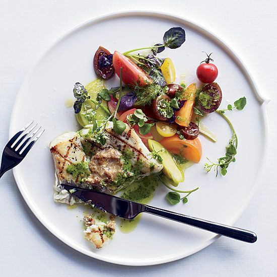 Grilled Halibut with Herb Pistou and Walnut Butter | Zesty nut butter and bright herb sauce are the perfect accompaniments for meaty halibut.