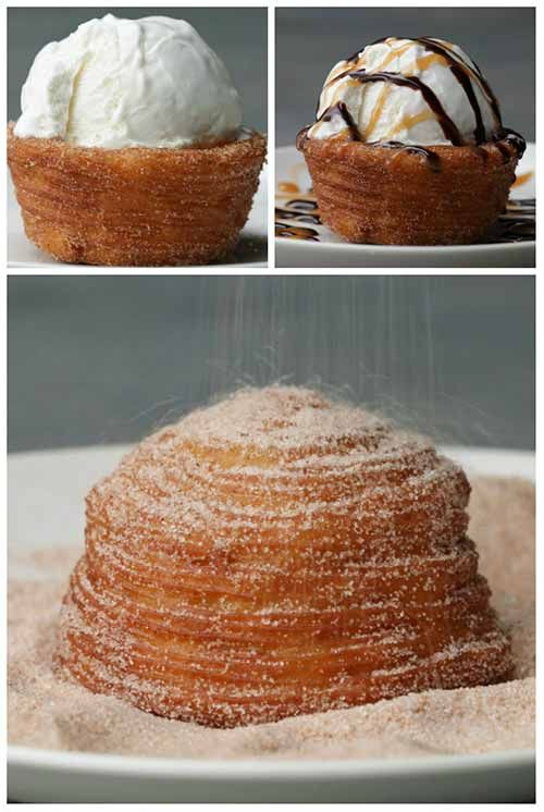 Ice Cream Churro Bowls Recipe Recipe: Makes 8 churro bowls 1/4 cup butter /cubed 2 Tbsp. brown sugar 1/2 tsp salt 1 cup water 1 cup flour 1 tsp vanilla 4 eggs cooking oil spray oil for frying cinnamon sugar ice cream hot fudge and caramel topping (optional) How To Make The Bowls: Thanks for stopping by and checking out this recipe, if you liked it please consider sharing it with your friends so they get to see it too.