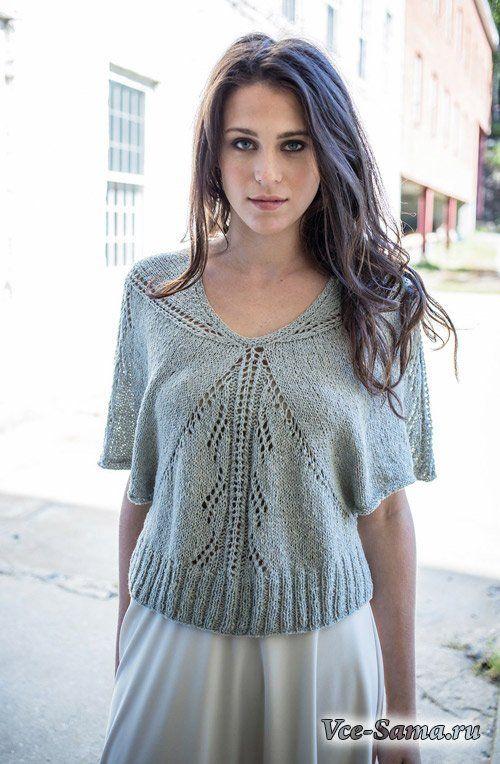 Легкий пуловер спицами из ажурных треугольников