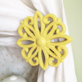 Curtain Tie Backs, Set of 2, Curtain tiebacks, Curtain Holdbacks, Window Accessories, Lemon Yellow