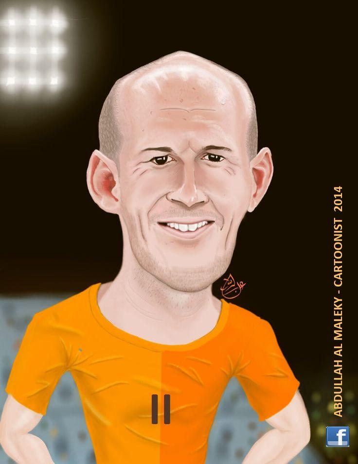 caricature portrait robben   bayern munich holland