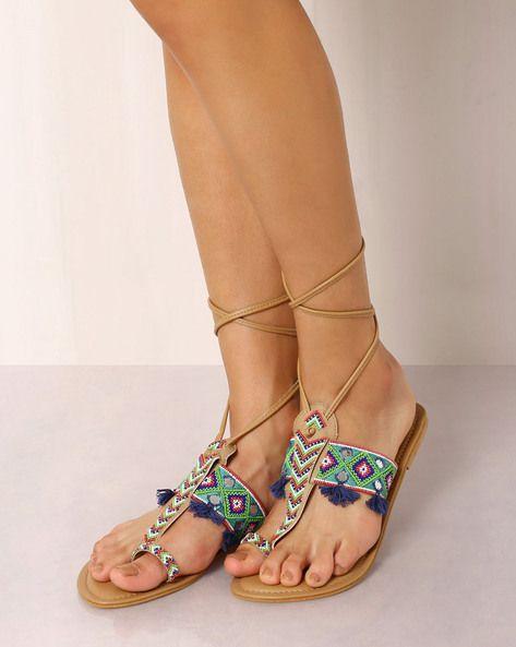 Buy TAN Indie Picks Beaded Sandals with Mirror Work Detail