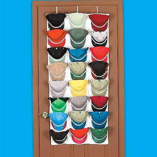 Overdoor cap hat organizer rack organize to keep you for Baseball hat storage solutions