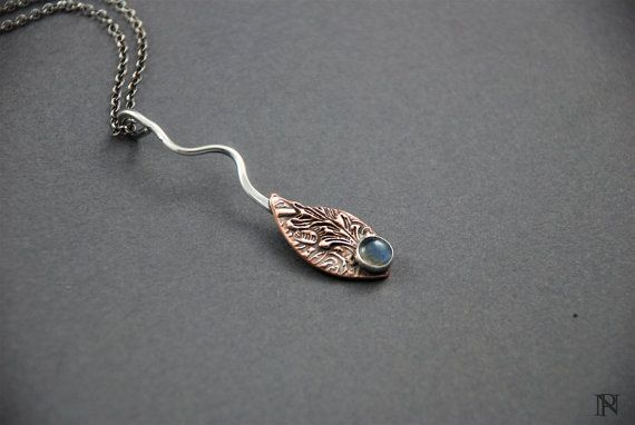 Mixed metal artisan jewelry copper silver labradorite pendant unique jewelry Christmas gift