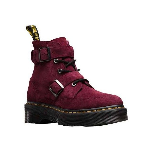 Women's Dr. Martens Masha Creeper Boot - Wine Soft Buck Casual (£130) ❤ liked on Polyvore featuring shoes, boots, casual, suede shoes, dr martens boots, creeper shoes, slip resistant shoes, gothic platform shoes and suede boots