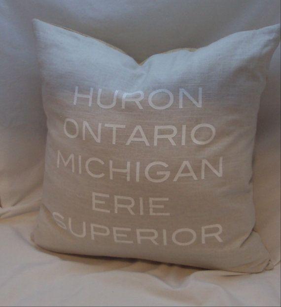 great lakes screenprinted pillow cover linen by JaelStudios. , via Etsy.