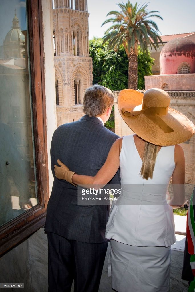 Queen Maxima of The Netherlands and King Willem-Alexander of The Netherlands visit mayor Leoluca Orlando at Quatto Canti during the second day of a royal state visit to Italy on June 21, 2017 in Palermo, Italy. (Photo by Patrick van Katwijk/Getty Images)