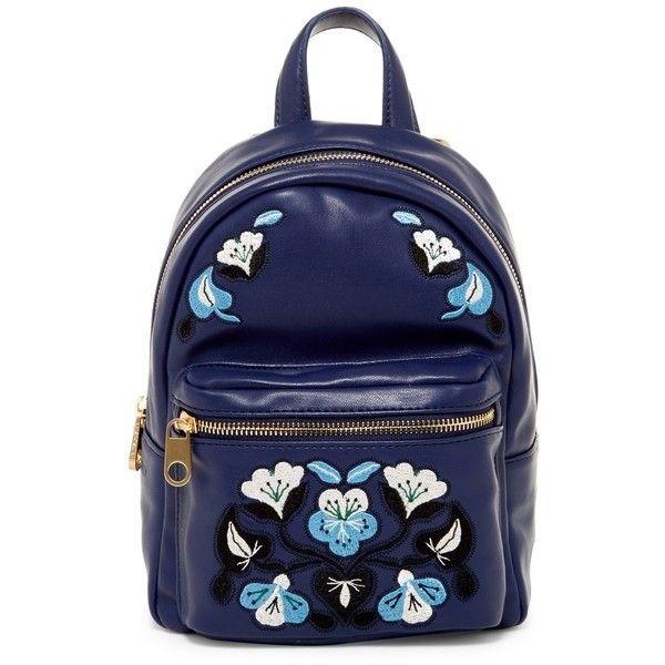 Cynthia Rowley Layla Mini Backpack ($45) ❤ liked on Polyvore featuring bags, backpacks, navy, miniature backpack, flower print backpack, cynthia rowley, navy backpack and embroidered backpacks