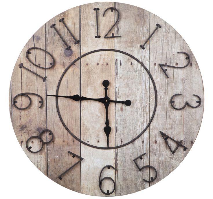 One o'clock wooddecor hanging clock - BePureHome. Wooddecor horloge suspendue, wooddecor hängenden Uhr, grote houten met metaal klok.