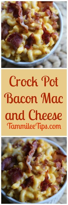 Super easy Crock Pot Bacon Mac and Cheese Recipe! Creamy, slow cooker macaroni and cheese with bacon you can easily make spicy if you like! Great for a crowd or family dinner!