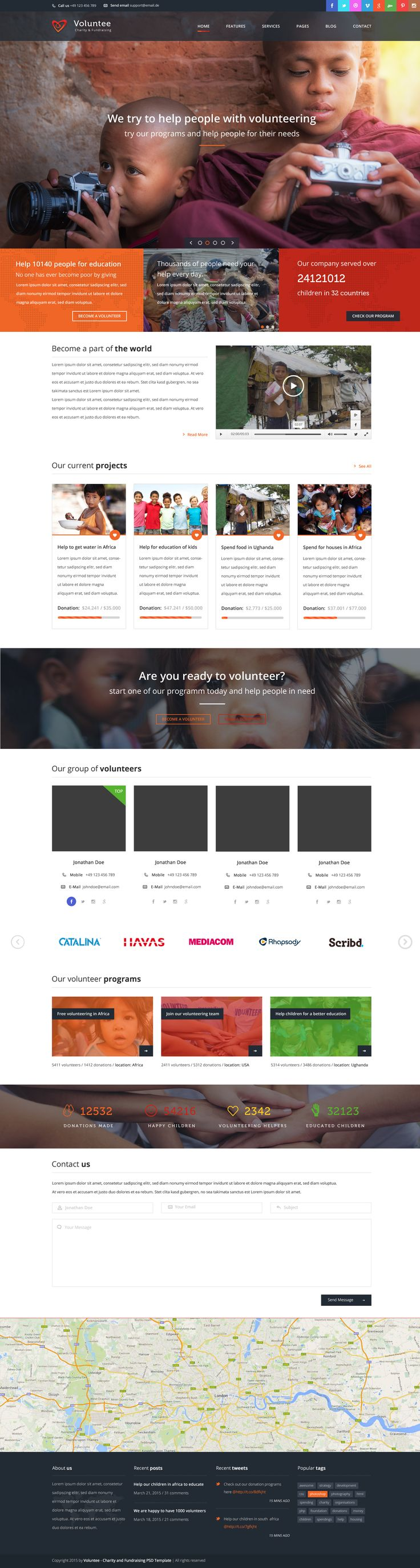 Voluntee is a WordPress Theme is created for non-profit websites, like governmental social program websites, NGO, Donation and fundraising websites, etc. Voluntee is a charity template, as well as a non profit theme for any social organizations, funds and donation campaigns.