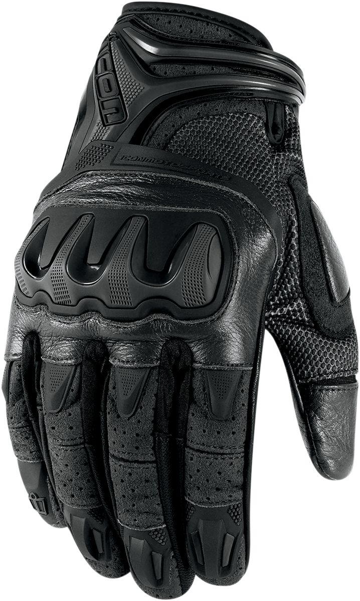 Buy leather motorcycle gloves - Icon Overlord Resistance Glove Stealth Ax Suede And Mesh Chassis French Cowhide Leather Palm Molded Knuckle Floating Knuckle Construction