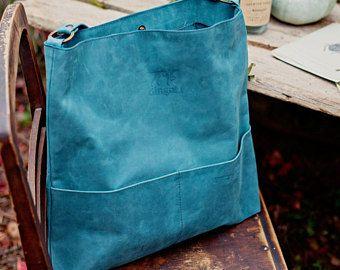 Echt leer hobo-tas met gereglementeerde handvat, mat lederen schoudertas